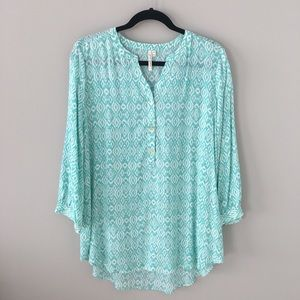 Teal and White Tunic with Gold Buttons